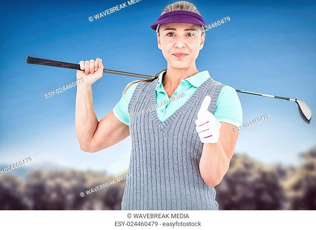 Composite image of pretty blonde playing golf and showing a thumbs up