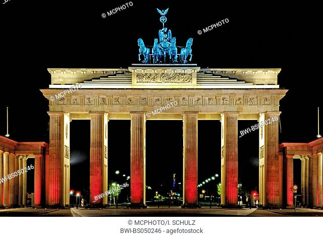 illuminated Brandenburg Gate during the festival of lights 2006, Germany, Berlin