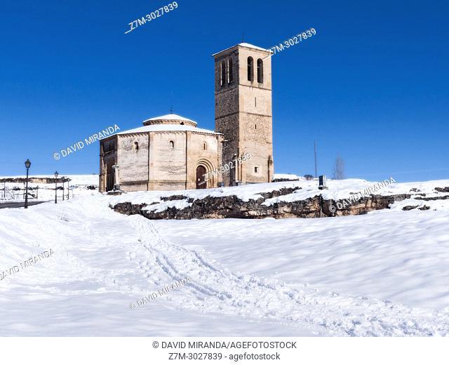 Iglesia de la Vera Cruz, snow-covered. Segovia. Castile-Leon, Spain