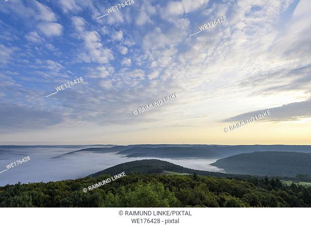 View from Katzenbuckel mountain with morning mist, Waldbrunn, Baden-Wurttemberg, Germany