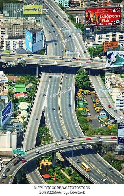 Aerial view of flyovers in Bangkok, Thailand
