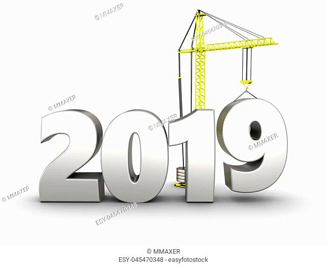 3d illustration of 2019 year silver sign over white background