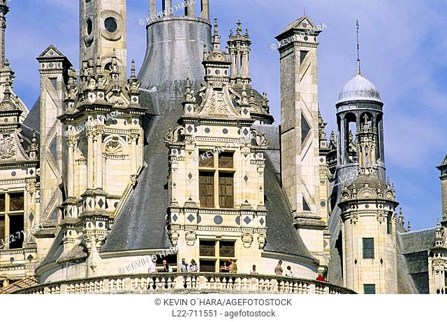 Chambord is the largest of the Loire castles, Renaissance Palace, creation of the king François I inspired by Leonardo da Vinci. Loir-et-Cher