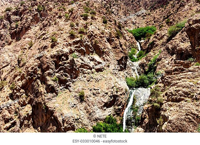 Waterfall in mountain Ourika , in the Grand Atlas mountains in Morocco , north africa