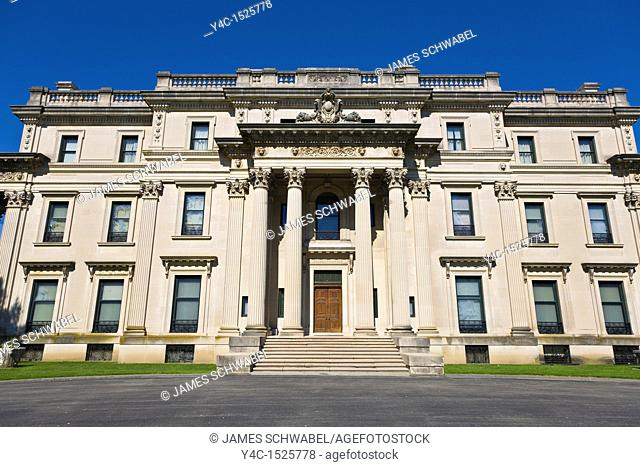 Mansion built 1896-99 in Beaux-Arts architecture style at the Vanderbilt Mansion National Historic Site in the Hudson Valley in Hyde Park, New York