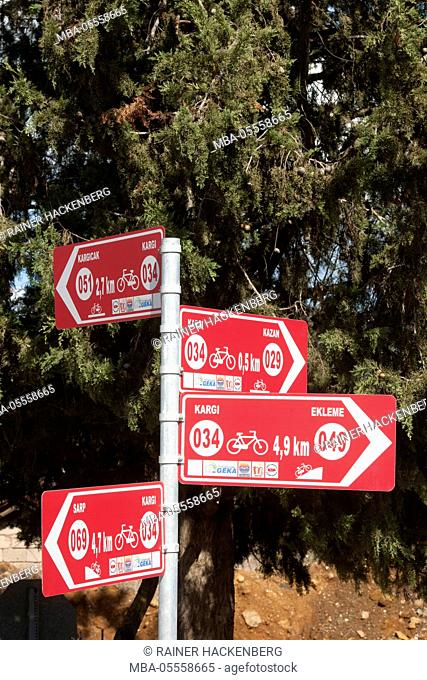 Turkey, province of Mugla, Bozburun peninsula, cycle path wise man