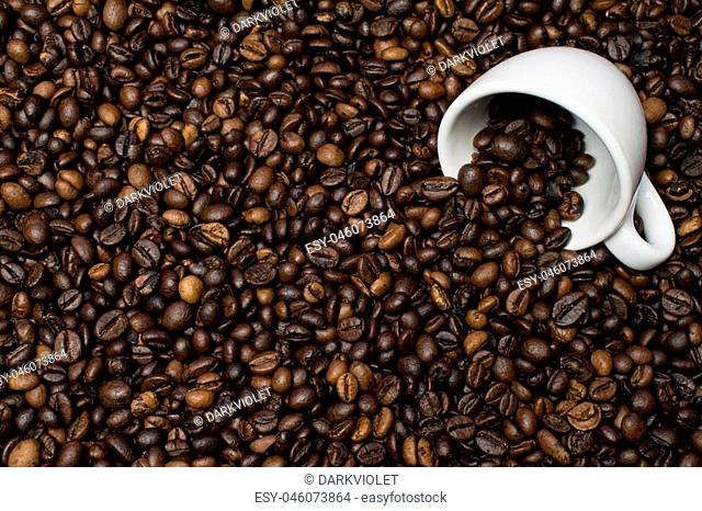 Cup white on coffee beans background