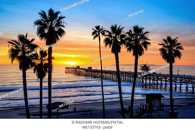 San Clemente Pier at sunset, California, USA