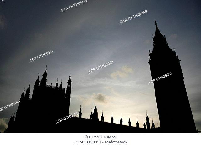 England, London, Westminster, Silhouette of Big Ben and the Houses of Parliament in London
