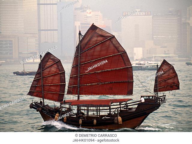 Chinese Junk, Hong Kong Harbour, Hong Kong