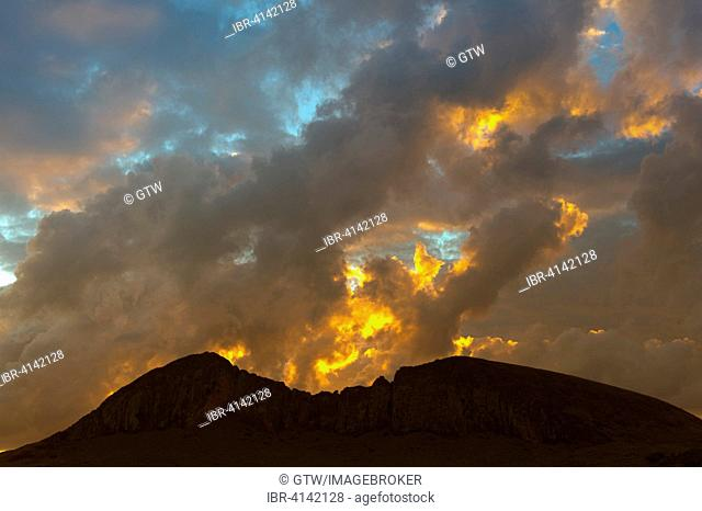 Rano Raraku volcano at sunset, Unesco World Heritage, Rapa Nui National Park, Easter Island, Chile