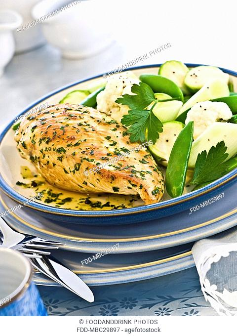Pan-seared chicken breast, steamed vegetables