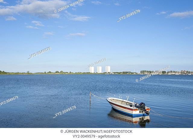 Burger inland lake with view toward south beach with the hotel and holiday center IFA, Burgstaaken, Fehmarn, Baltic Sea, Schleswig-Holstein, Germany, Europe