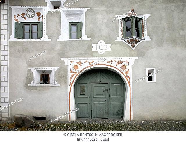 House, facade, Scuol, Lower Engadine, Graubünden Canton, Switzerland