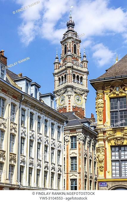 Architectural detail around Place du General de Gaulle with the belfry and clock tower of the chamber of commerce, Lille, France