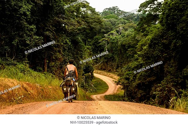 Cycling in the equatorial rainforest of Gabon, Central Africa