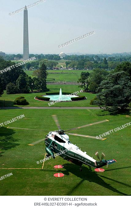 Marine One lifts off from the South Lawn of the White House. July 16 2010. (BSWH-2011-8-297)