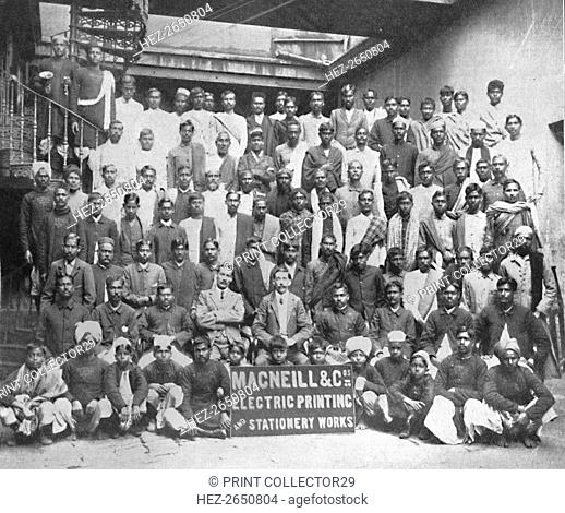 'Staff of Macneill & Co.'s Printing and Stationery Works, Calcutta', 1917. Artist: Unknown