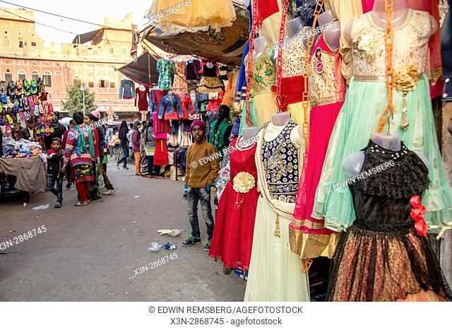 Johri Bazaar; Dresses hung in Indian marketplace in Jaipur, India