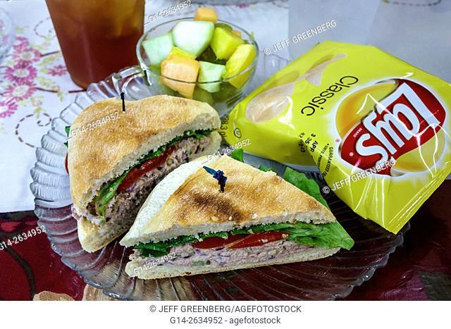 Florida, FL, Dade City, Mallie Kyla's Cafe, restaurant, food, lunch, sandwich, fruit cup, Lay's potato chips, tuna fish