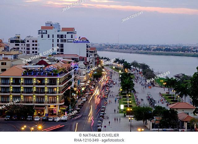 Sisowath riverside, along the Bassac River, Phnom Penh, Cambodia, Indochina, Southeast Asia, Asia