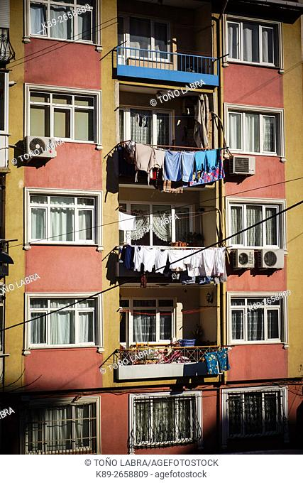 Clothes hanging. Neighborhoods around the Walls of Constantinople. Istanbul. Turkey