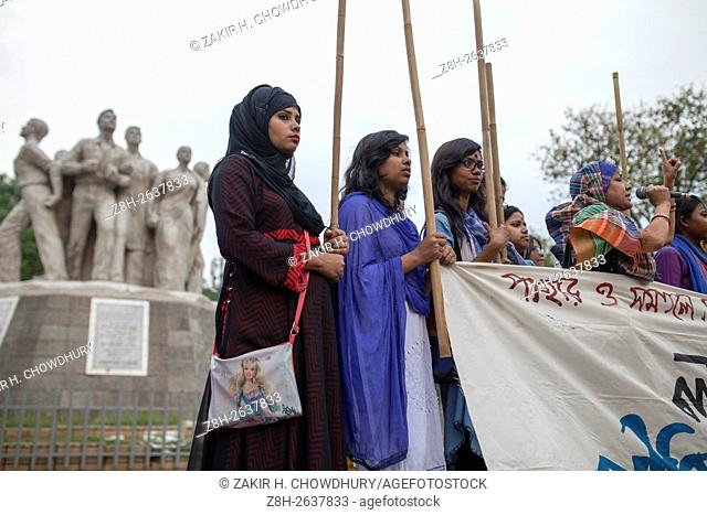 DHAKA, BANGLADESH - APRIL 02 : Women activist join the stick procession as a protest against rape and sexual harassment on woman at Dhaka University area in...