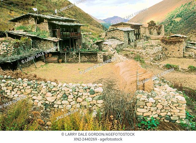 Very old village in remote Himalayan valley. Bhutan