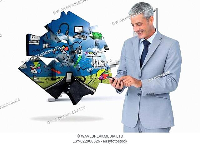 Composite image of cheerful businessman sending text message