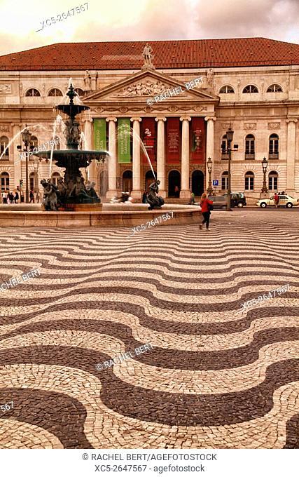 Teatro Nacional at Praça Dom Pedro IV, Rossio, Baixa, Lisbon, Portugal