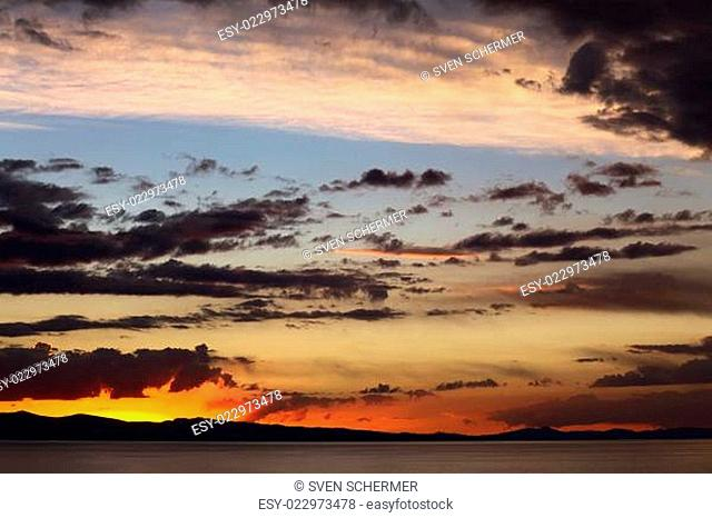 Evening Sky with Clouds Over Lake Titicaca in Bolivia
