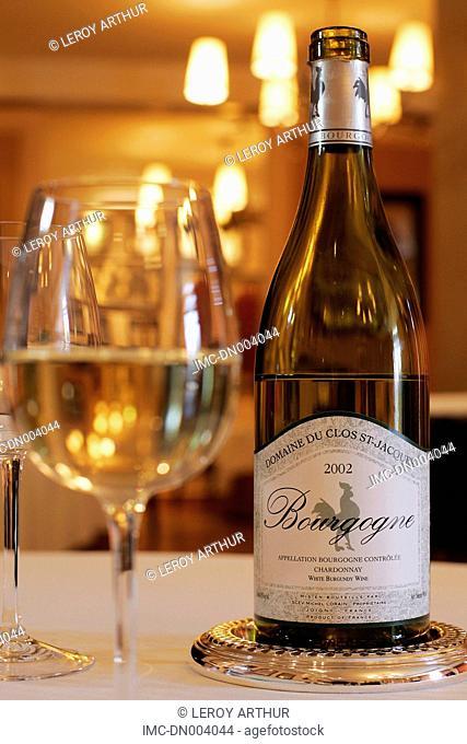 France, Burgundy, Joigny, bottle of wine