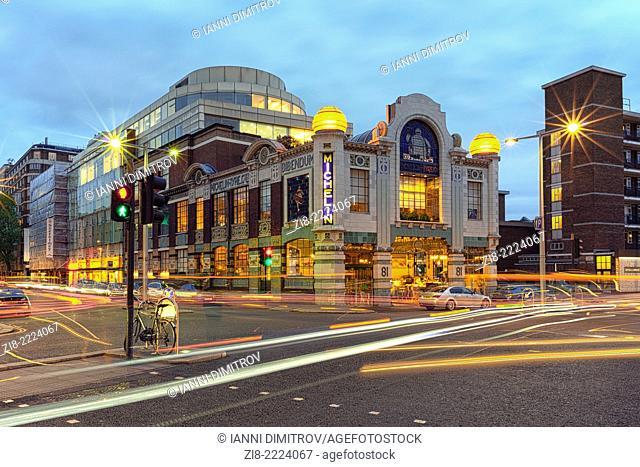 Bibendum,Michelin House and Conran Store at night,South Kensington,London,England