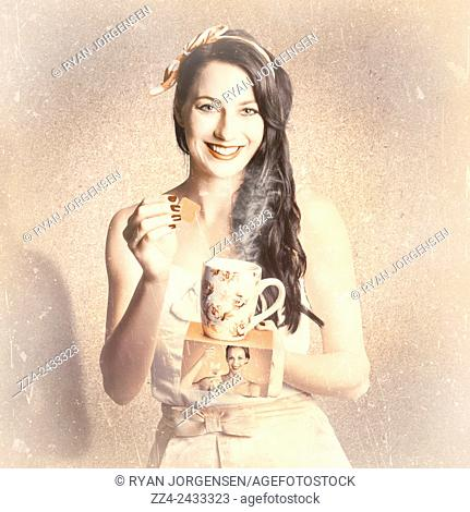 Classical vintage tea advertisement of a pin-up woman dunking teabag into old style mug while holding advert packaging. Old styled commercial