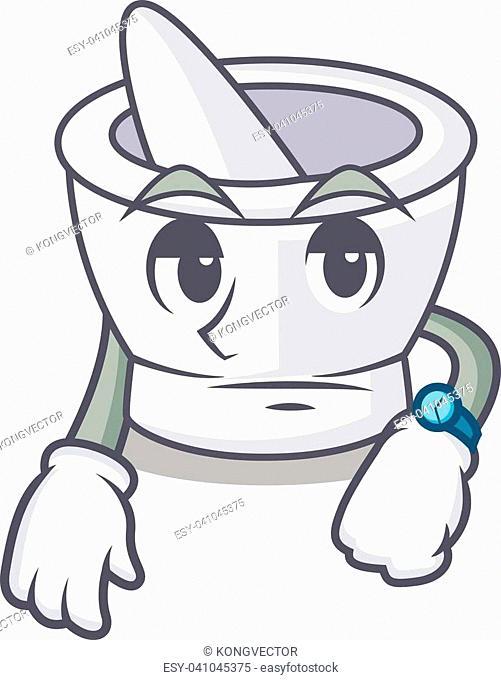 Waiting mortar mascot cartoon style vector illustration