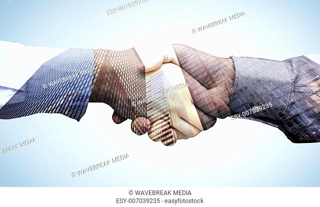 Composite image of hand shake