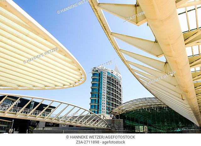 Apartment block and architecture Oriente station in Lisbon, Portugal, Europe