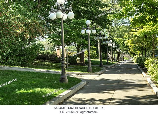 Lighted promenade through the park-like city center inside the fortress city of Quebec
