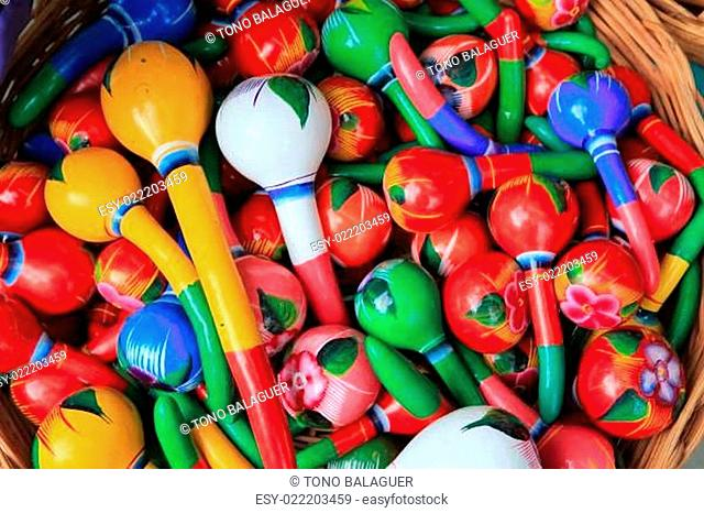 colorful maracas from Mexico handcraft painted