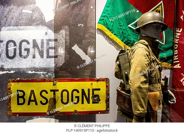 Bullet-riddled Bastogne town sign in the Bastogne War Museum devoted to the Second World War Two Battle of the Bulge in the Belgian Ardennes, Belgium