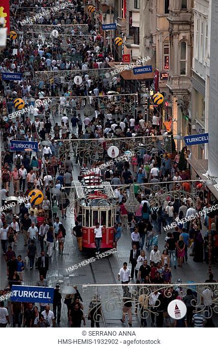 Turkey, Istanbul, Beyoglu, Taksim District, Istiklal Caddesi Street and old tram