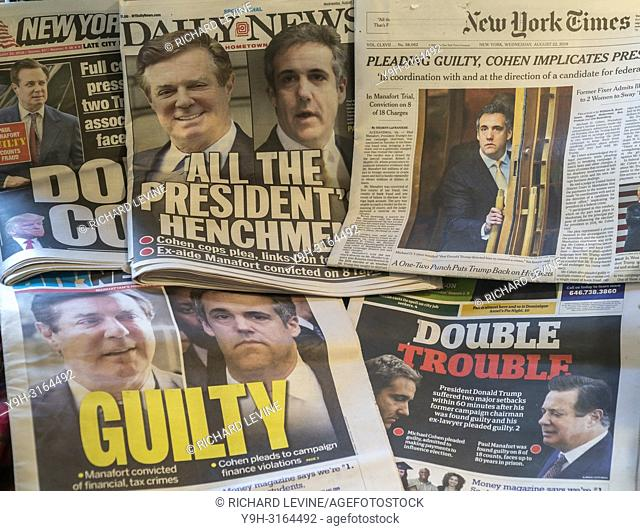 Headlines of New York newspapers on Wednesday, August 22, 2018 report on the previous day's conviction on 8 counts of ex-aide to President Trump, Paul Manafort