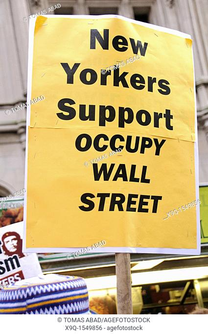 September 30, 2011, Downtown Manhattan, Liberty Plaza , Zuccotti Park, Wall Street financial area vicinity, Occupy Wall Street is an ongoing series of...
