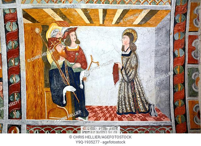 Fresco of Saint Sebastian Receiving Spurs from Roman Emperor Diocletian Chapel of Saint Sebastian (1513) Roubion Tinée Valley Alpes-Maritimes France