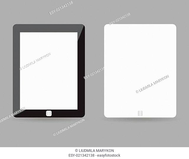 Two realistic tablet pc concept - black and white with blank screen. Highly detailed responsive realistic small tablet mockup isolated on gray background