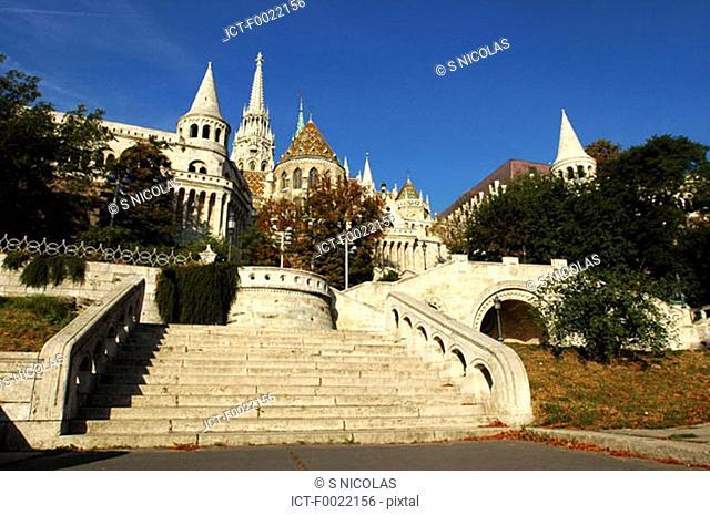 Hungary, Budapest, Fishermen's Bastion and Matthias Church