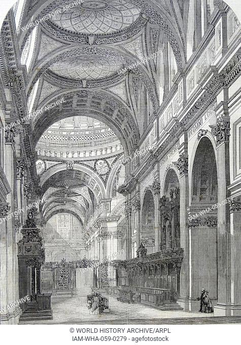 Engraving depicting the interior of St. Paul's Cathedral, showing the Eastern Transept in the foreground. Dated 1860