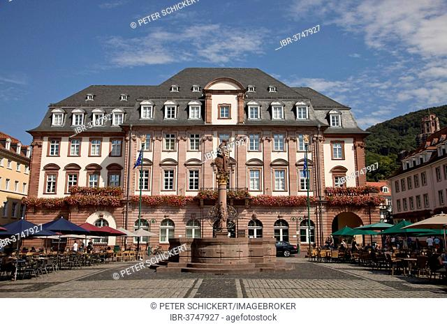 Heidelberg Town Hall with the Hercules Fountain in the market square, Heidelberg, Baden-Württemberg, Germany