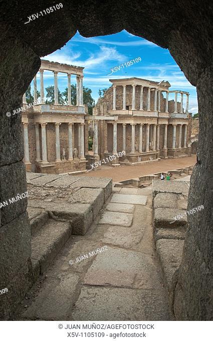 Ruins of Roman theater, Merida, Badajoz province, Extremadura, Spain