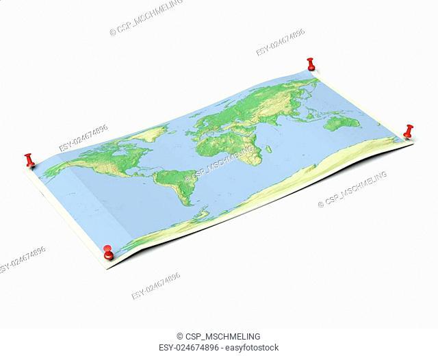 World map on unfolded map sheet